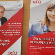 Plakát lídra kandidátky KSČM a kandidátky do Senátu, která se setkání nemohla zúčastnit.